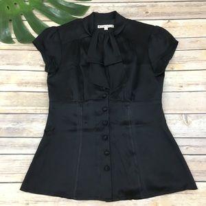 Nanette Lepore black silk retro style blouse
